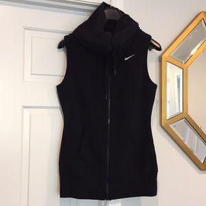 Nike extra long cowl neck full zip vest